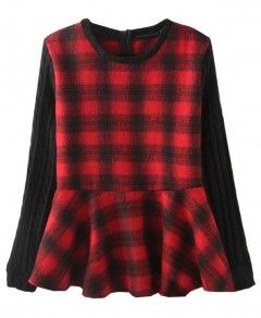 Twist Knit Splicing Sleeves Plaid Pullover
