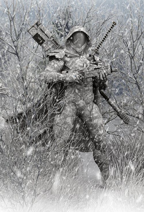 A Ghost by DarkGeometryArt A standard unit part of Arctic Recon & Warfare Corps (ARWF) in The Cyaligiate Universe