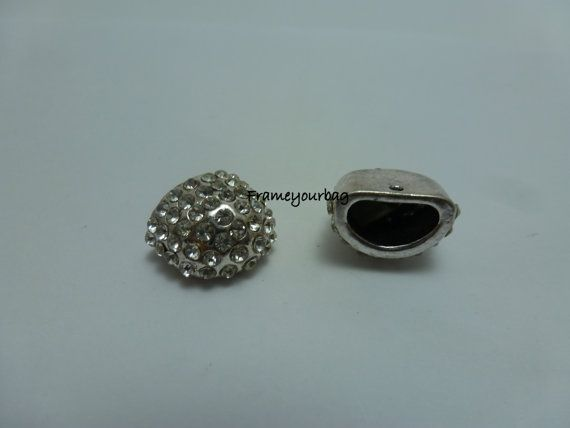 10 OFF 2 End Cap  Antique Silver  with brilliant by frameyourbag, €3.99