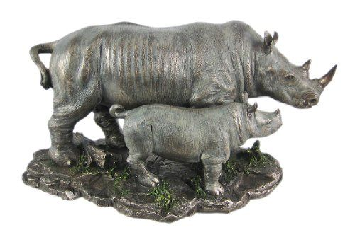 "Signed Mene White Rhinoceros African Rhino Animal Figurines Gifts Collectibles Bronze Sculptures Statues... 8""X12"" 12 Lbs. Real Bronze. 