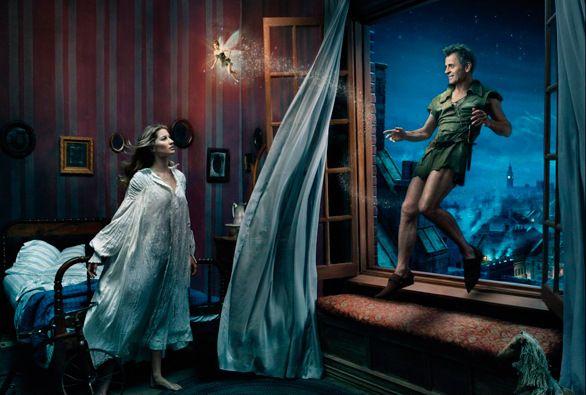 "#disney #disneycharacters #fairytale #photoshoot #famous #people #model #supermodel #dancer #annieleibovitz #giselebundchen #mikhailbaryshnikov #peterpan #tinafey #tinkerbell dancer mikhail baryshnikov as peter pan, supermodel gisele bundchen as wendy and tina fey as tinker bell in ""peter pan"""