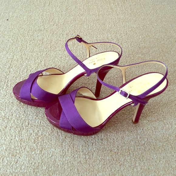 2x HP! NWOT Kate Spade purple strappy heels Brand new Kare Spade strappy heels in purple. Never worn! Three inch heels with a 1/2 inch platform. Super comfortable and great for formal or casual occasions! 100% leather and 100% grosgrain straps. Made in Italy. kate spade Shoes Heels