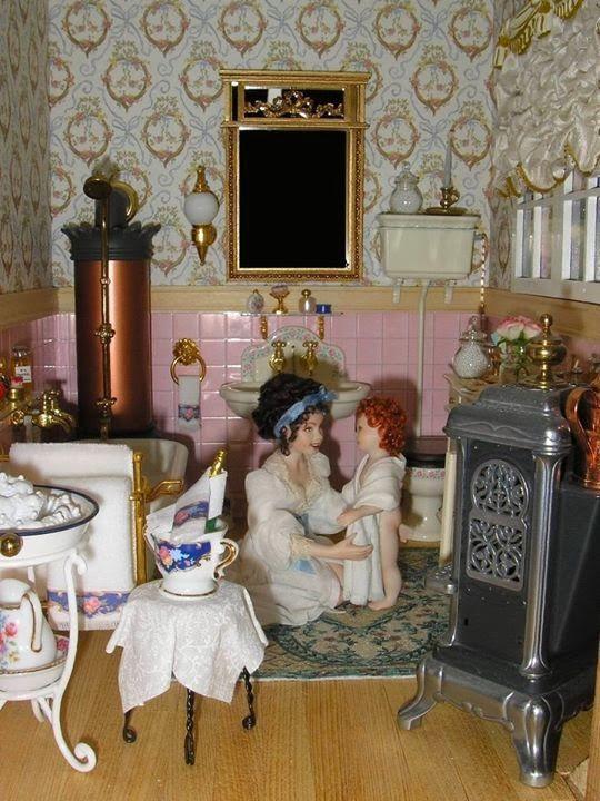 An Old Fashioned Bathroom Dollhouse Miniature