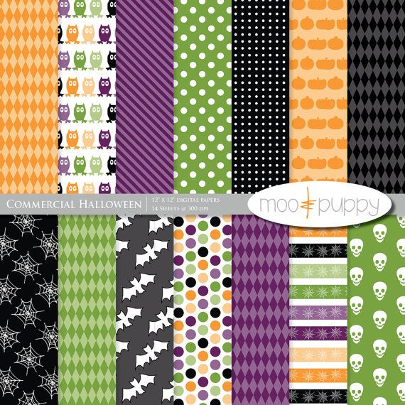 Moo Commercial Halloween Digital Scrapbook Paper Pack