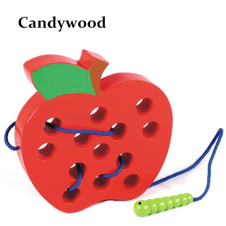 Candywood 2017 Новый детские раннего обучения и образования деревянная игрушка Threading worm ешьте apple Лабиринт игрушка деревянные головоломки игрушки для childen купить на AliExpress