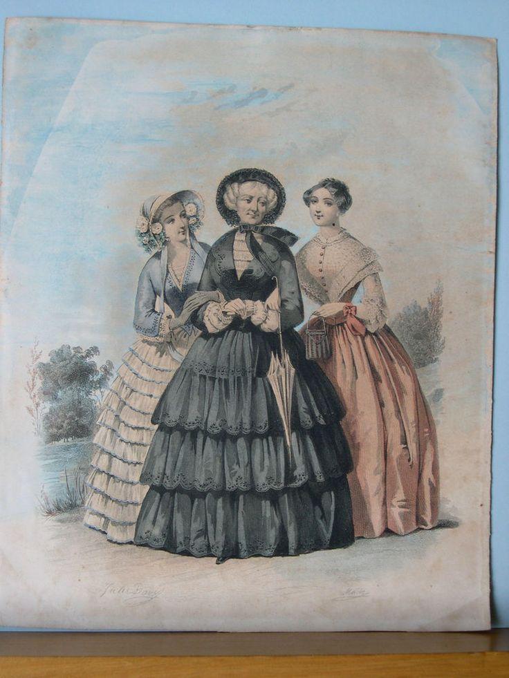 acquaforte abiti alla moda metà 1800 Jules David Millin