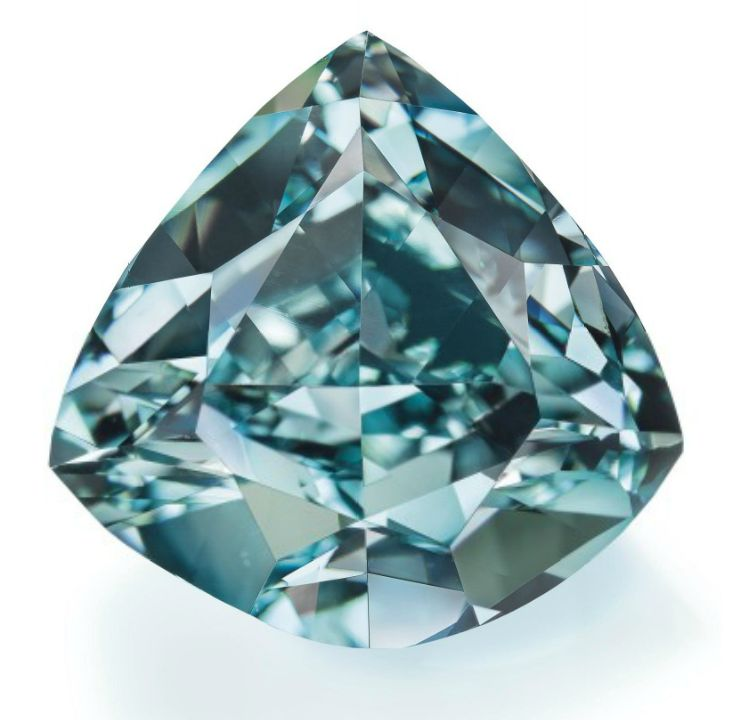 The Ocean Dream - The fancy vivid blue-green triangular-cut diamond, weighing approximately 5.50 carats.