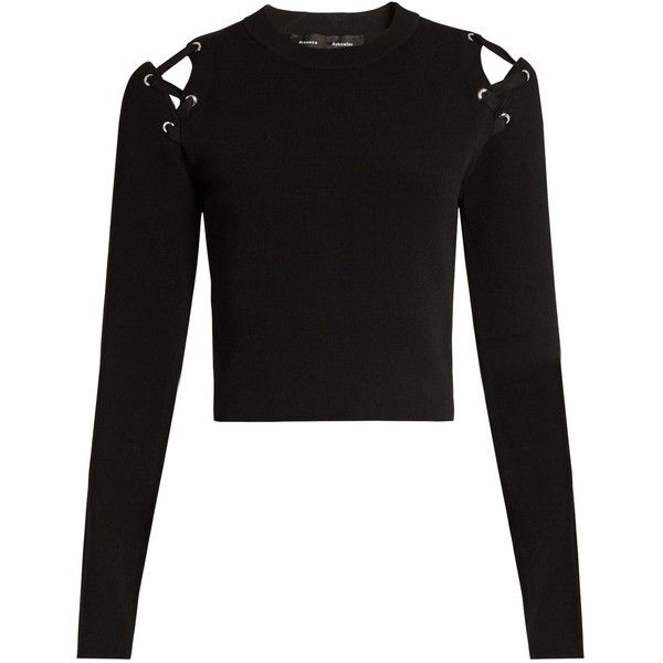 Proenza Schouler Cut-out shoulder crew-neck sweater (£250) ❤ liked on Polyvore featuring tops, sweaters, shirts, crop tops, long sleeves, black, long sleeve shirts, crew neck sweaters, long sleeve sweater and crewneck sweater