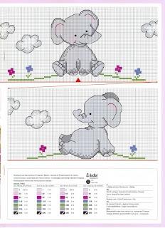 Elefante animali baby punto croce