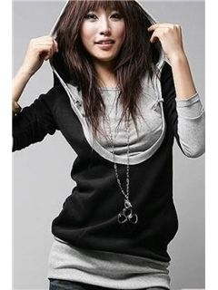 Chic Fake Two Pieces Long Sleeves Hoodie