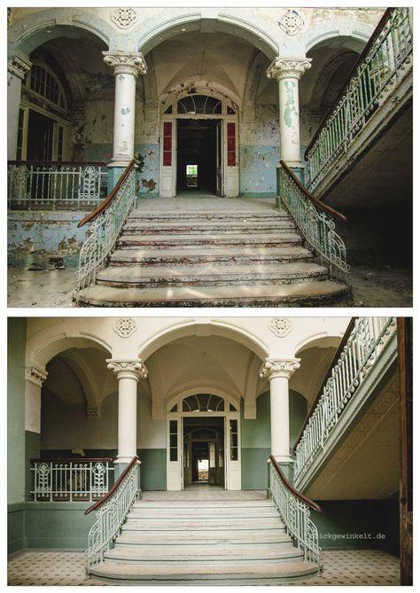 Fotovergleich Eingang zum Männersanatorium der Beelitzer Heilstätten 2012 und 2017 – Ines Ewald