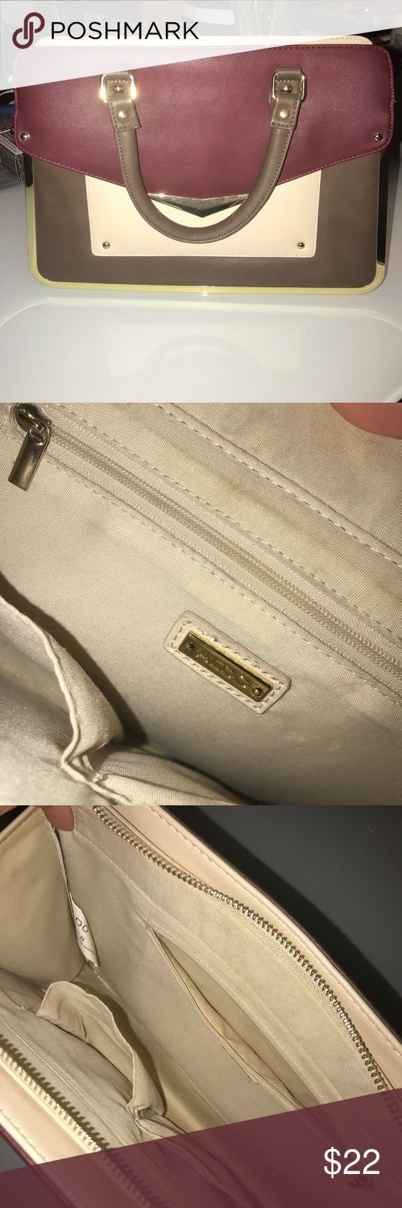 ALDO Handbag (LIKE NEW) Super cute Aldo purse LIKE NEW  Only worn once! No scratches, scuffs, or strings hanging out.  Doesn't include exta strap (got lost) but looks cute when carried on arm!  Perfect for fall & winter clothes!  Structured and stands on own when placed on table! Aldo Bags Satchels