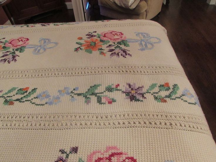 """White Hand Crocheted Afghan 67"""" Wide and 79 """" Long 