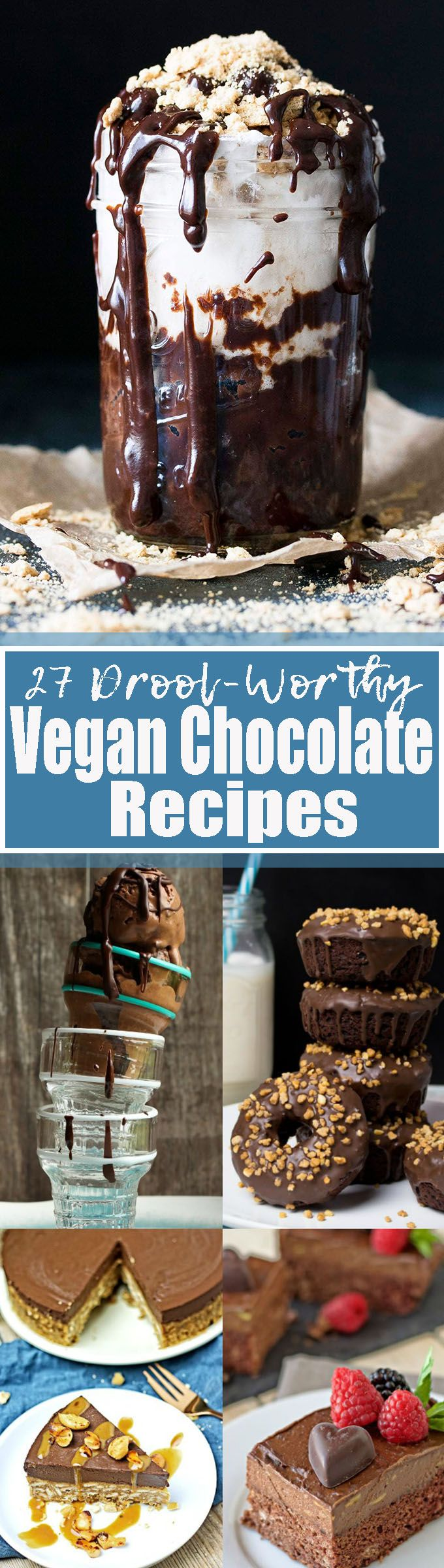 If you like chocolate, you will love these 27 vegan chocolate recipes! They all make the perfect vegan dessert! The roundup includes vegan ice cream, vegan cake, vegan donuts, vegan cookies, and so much more!