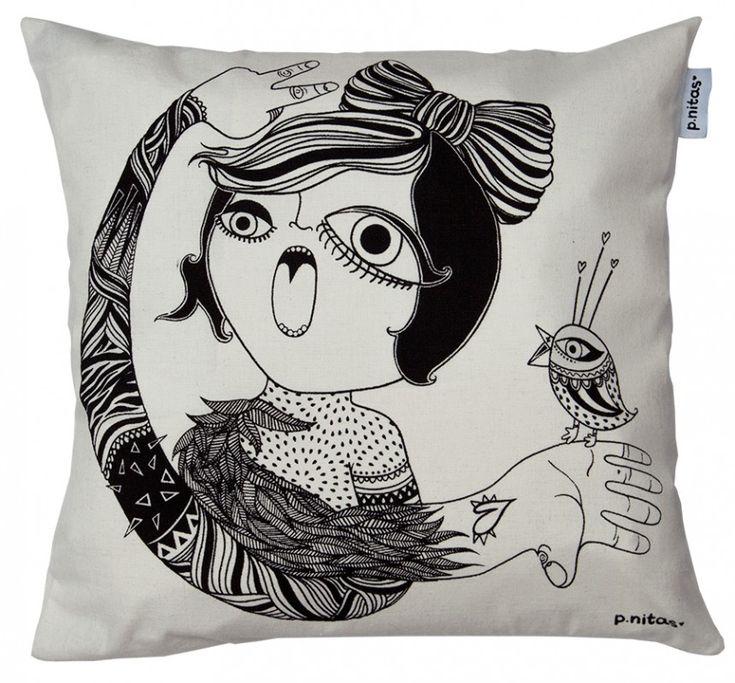 Paz en Gritos. Cojines ilustrados #design #pillow #illustration #woman