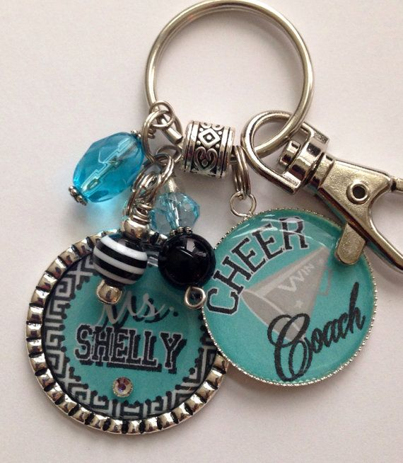 Cheer Coach Gift Personalized Keychain sport jersey Cheer Dance Gymnastics team school spirit colors custom cute bling present