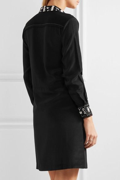Paul & Joe - Syvette Bead-embellished Silk-satin Mini Dress - Black - FR38