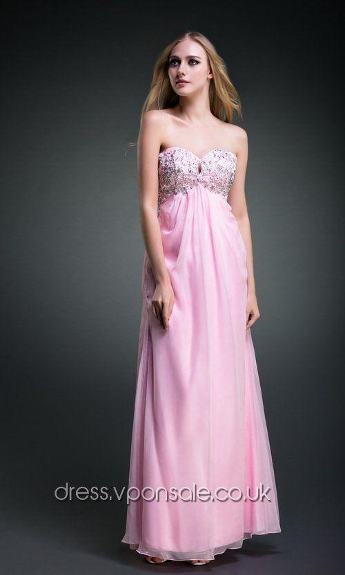 Pink Strapless Long Chiffon Prom Dress DVP0168 #pink #vponsale