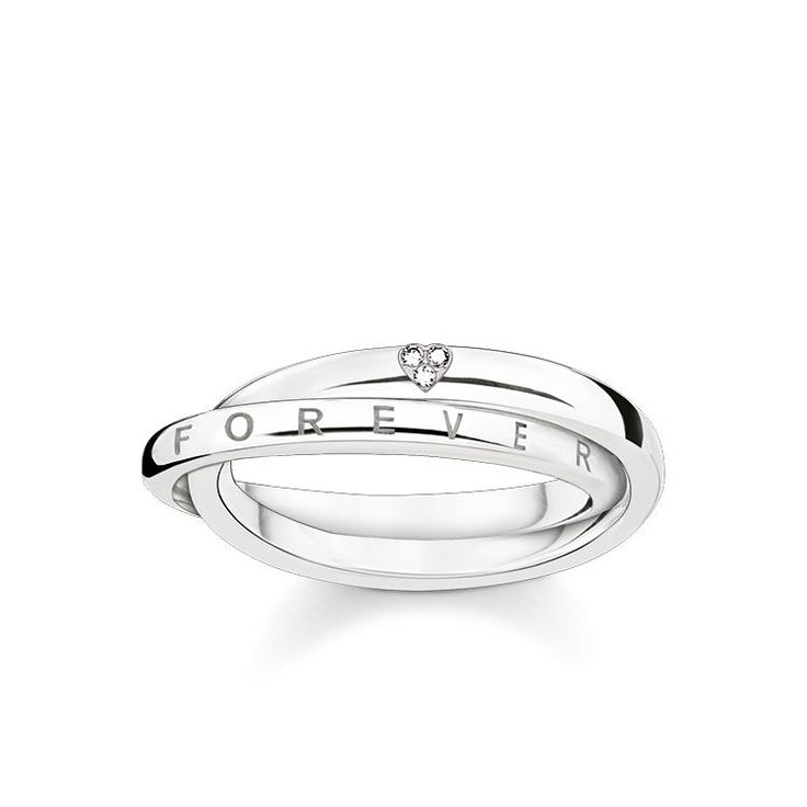 THOMAS SABO ring from the Sterling Silver Collection. - Dazzling diamond embellishment - Playful design - Eternal bond United forever – the interlocking rings with the exquisite diamond embellishment and the 'Forever Together' engraving represent the inseparable bond between two lovers. [Artikeltabelle]Category:ring Material:925 sterling silver Stones:white diamond pavé Measurements:Width approx. 0,5 cm (0,2 Inch) Itemnumber:D_TR0017-725-14[/Artikeltabelle]