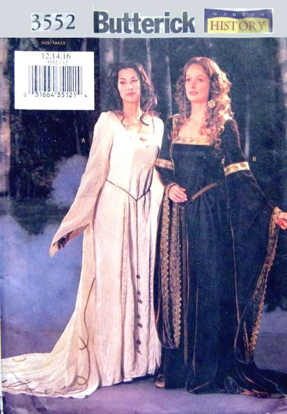 Butterick3552 UNCUT Renaissance medieval gown dress cape, Game of Thrones Sizes 12, 14, 16 sewing pattern , Princesss Seams