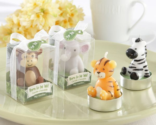 "Little elephant, zebra, tiger and monkey candles are adorable favors for a baby shower! | ""Born to be Wild"" Animal Candles"