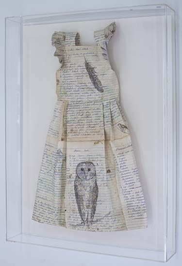 Gaye Lincoln: Protection (with Owl)   Reclaimed paper, graphite, watercolour, gold leaf, thread, perspex