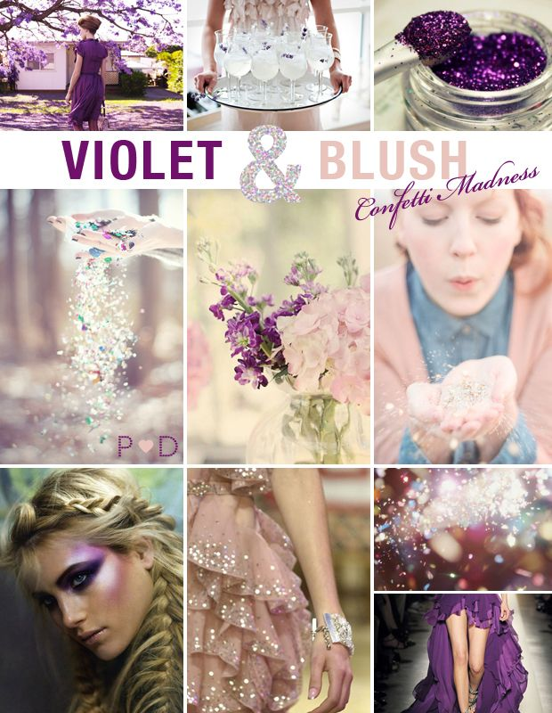 Violet & Blush, Inspiration Board, Mood Board, Wedding, Party, Style, Pink, Purple, Confetti