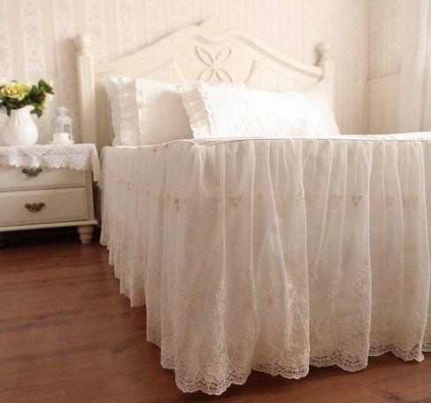 ベッドスカート 優雅なシフォンレースフリルベッドスカート (ダブル)