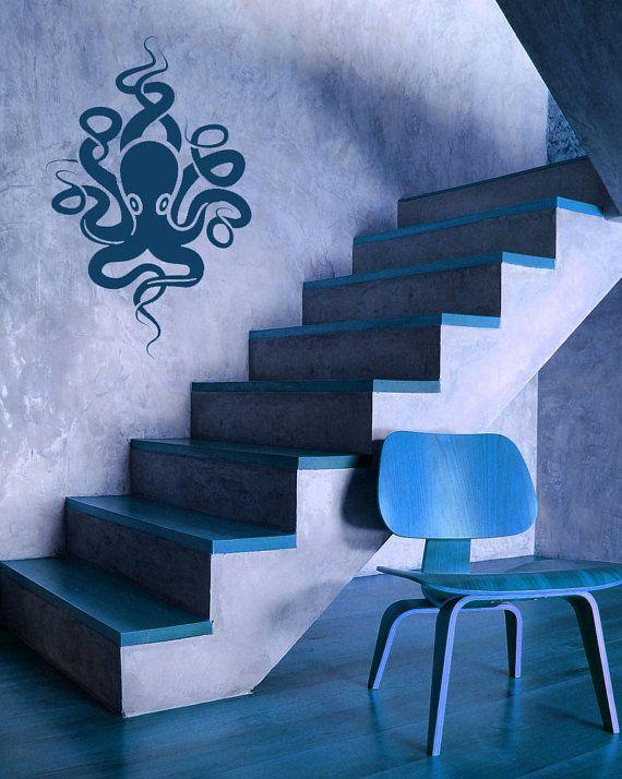 Kraken, polpo, tentacoli, decalcomania, adesivo, vinile, muro, Acquario, casa, arredamento dormitorio.    Decalcomania misura circa 22 cm di