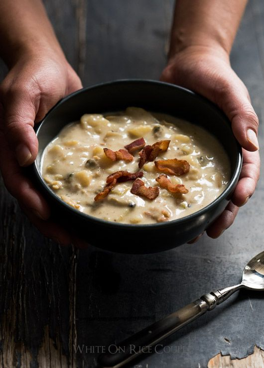 Easy Creamy New England Clam Chowder Recipe in 30 minutes | Bacon ...