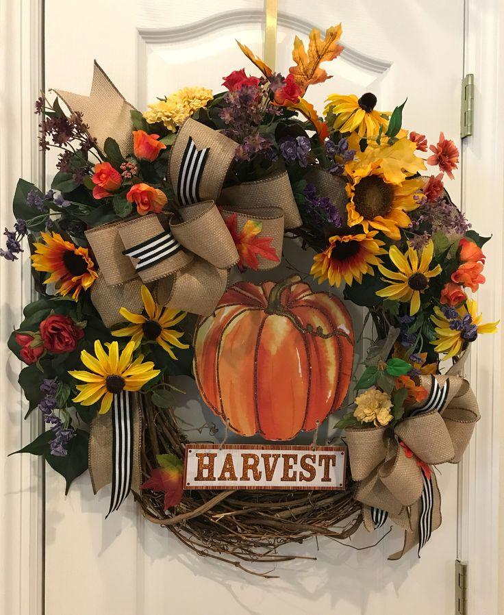 Fall Harvest Wreath-Wolfe a Designs