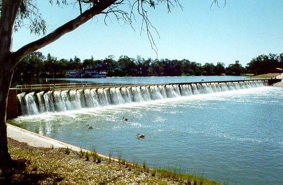 A Murray River weir at Mildura