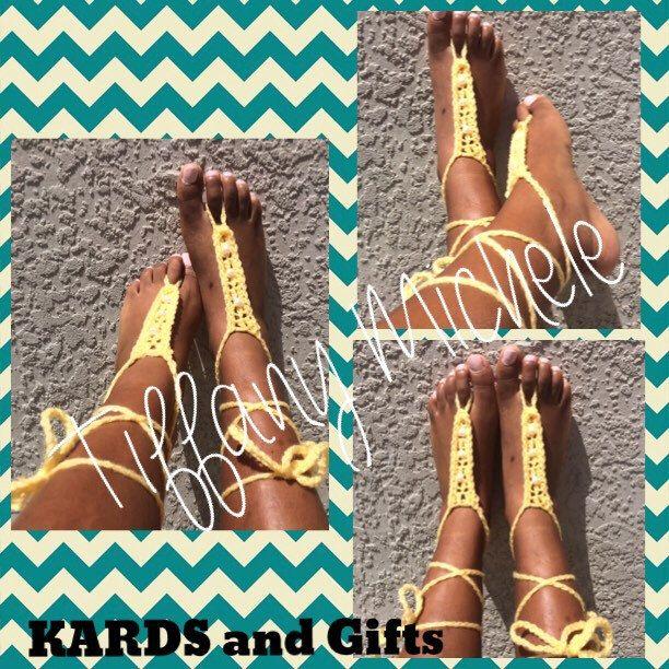 Sunny Yellow Beach Feet Barefoot Sandals by KARDsandGifts on Etsy https://www.etsy.com/listing/462218639/sunny-yellow-beach-feet-barefoot-sandals