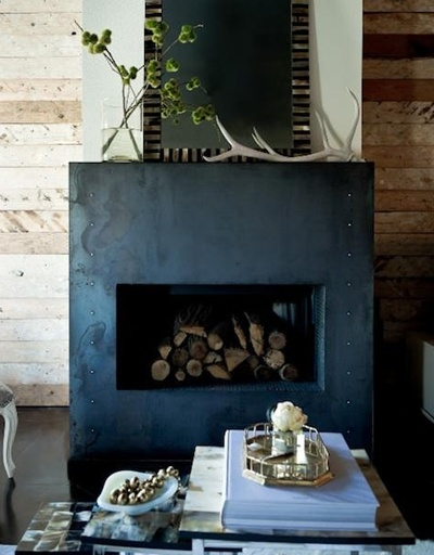 Love this metal fireplace