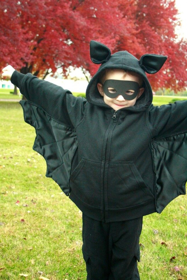 All you'll need to make are wings, ears + a mask for this bat costume.