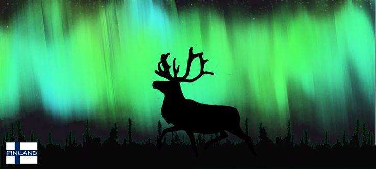 Reindeer under the Northern Lights
