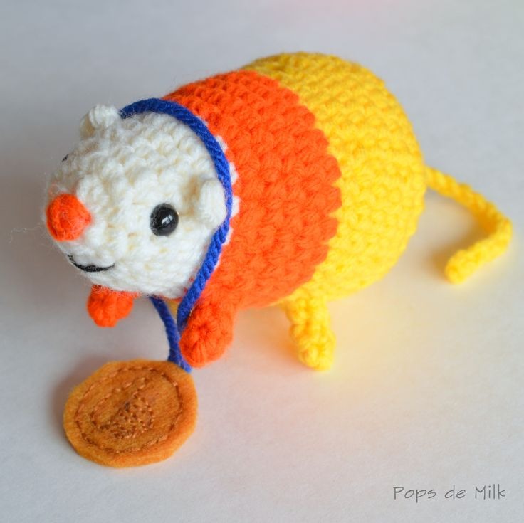 "Science the Candy Corn Zombie Rat - Adventure Times - Free Amigurumi Pattern - PDF File click: ""Download the PDF here"" at the end or the post here: http://www.popsdemilk.com/science-the-candy-corn-rat/"