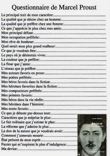 Questionnaire de M.Proust