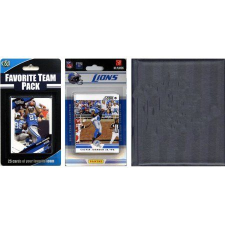 C Collectables NFL Detroit Lions Licensed 2012 Score Team Set and Favorite Player Trading Card Pack Plus Storage Album