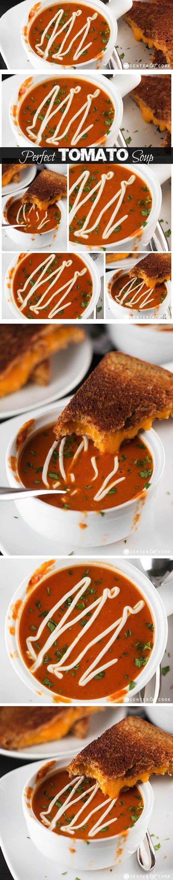 The PERFECT TOMATO SOUP Recipe made from scratch with fire roasted tomatoes and a splash of heavy cream and parmesan cheese. Pairs perfectly with grilled cheese!