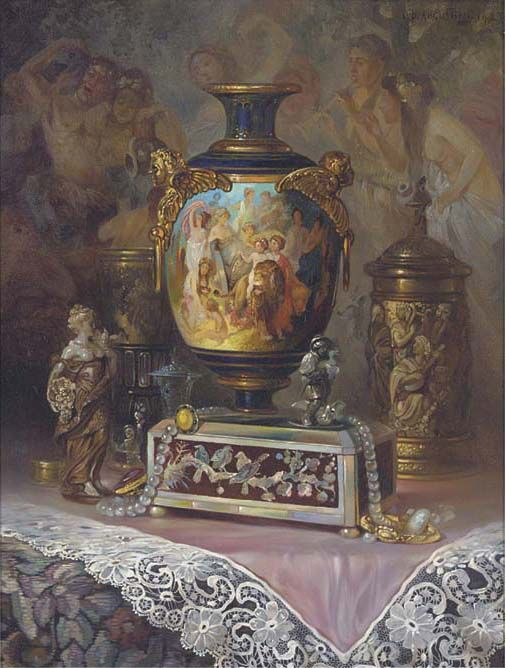 Ludwig Augustin    An ornamental urn, a jewellery box and jewels on a silk draped table  signed and dated 'lud. Augustin 1923' (upper right)  oil on canvas