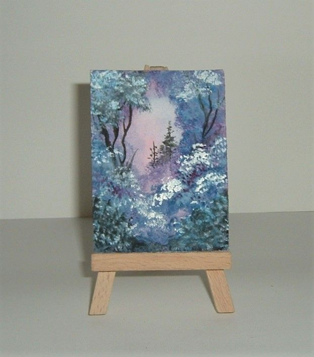 purple aceo watercolour landscape. (ref 205) £3.50