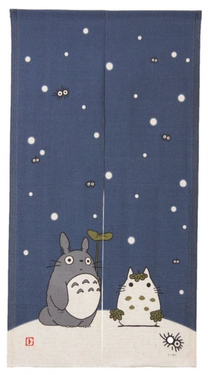 "beifongkendo: "" Studio Ghibli (winter design) noren curtain. Noren are traditional room dividing curtains often used at Japanese shop entrances. """