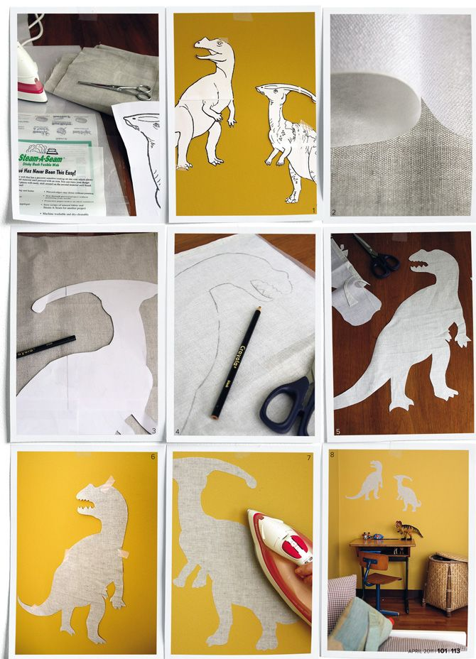 DIY: wall stickers. @Mandii Griffith Marie, doesn't your little man love dinosaurs? Thought you might like these, even if not for the wall! :)