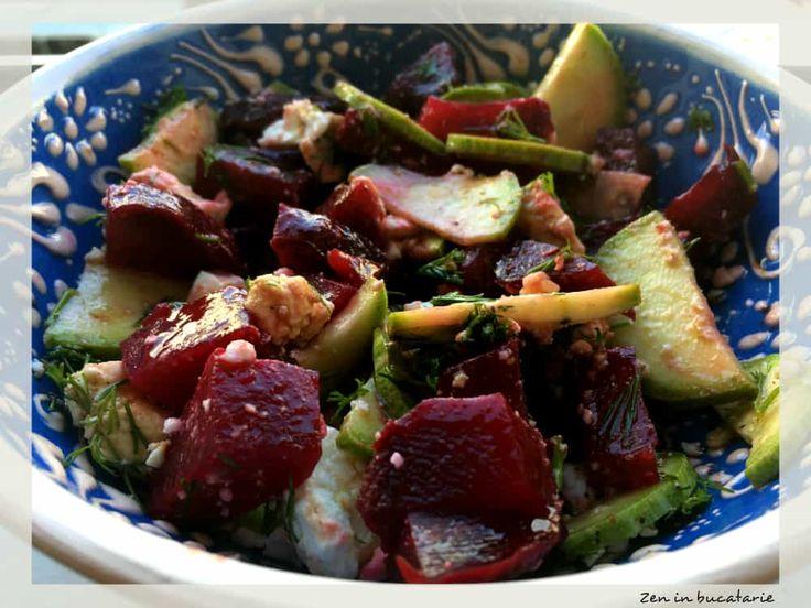 Salata de sfecla rosie cu dovlecel si telemea
