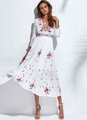 Floral Appliques V-Neckline Maxi A-line Dress - Floryday @ floryday.com