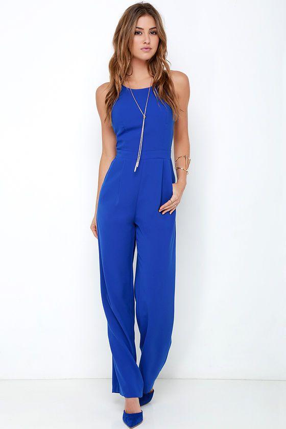 Shoot for the Sky Cobalt Blue Jumpsuit at Lulus.com!