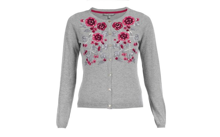 Crew Neck Rose Cardigan