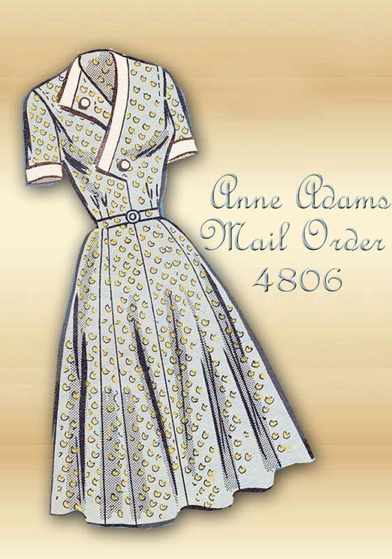 Modèle des années 1950 de couture robe Anne Adams correspondance 4806 surplis corsage fermeture évasée jupe demi taille buste 36