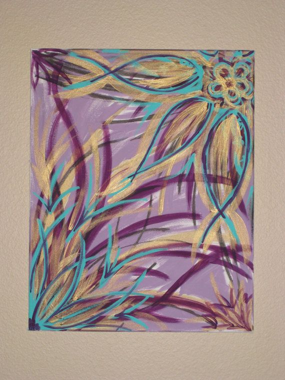 Purple Turquoise and Gold Abstract Canvas Painting by ZaleyDesigns, $25.00